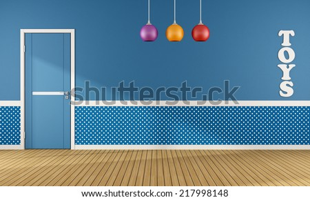Blue playroom with closed door and colorful chandelier - rendering - stock photo