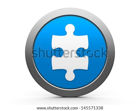 Blue plugin icon isolated on white background, three-dimensional rendering - stock photo
