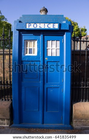 Blue Police Call Box Installed in Glasgow Close to Entrance to Botanical Gardens. Designed as Tardis the Doctor Who Time Machine