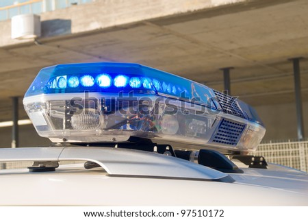 blue police siren - stock photo