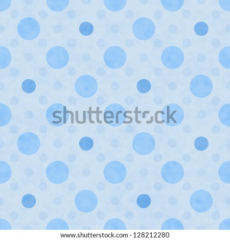 Blue Polka Dot Fabric with texture Background that is seamless and repeats - stock photo