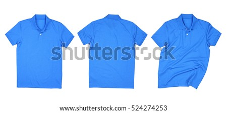 Blue polo shirt isolated collections, Blue polo shirt on white background