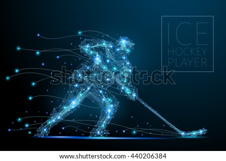 Blue polygonal abstract ice hockey player. Blues players from futuristic shape. Thin line cybernetic style of sportsmens silhouette. Body energy low poly sports man in motion. Raster copy of file - stock photo