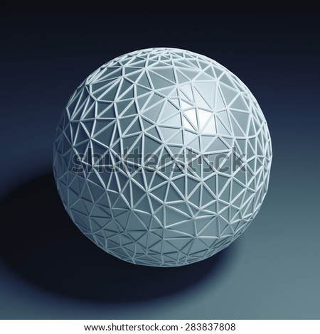 Blue polygonal 3D sphere isolated with clipping path - stock photo