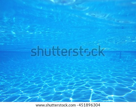 Blue pool underwater light patterns. - stock photo