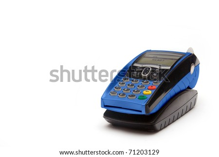 Blue Portable Credit Card Terminal on Base - stock photo