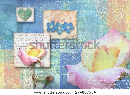 Blue postcard flower. Congratulations card. Beautiful spring pink flower Used for textile,for wallpaper, pattern fills, web page background, poster. Sea background. Turquoise color. - stock photo