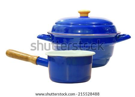 blue pot isolated on white background - stock photo