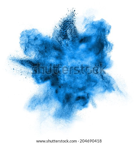 Blue powder explosion isolated on white background - stock photo