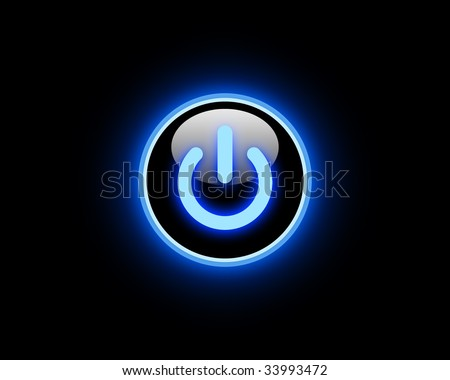 Blue Power button - stock photo