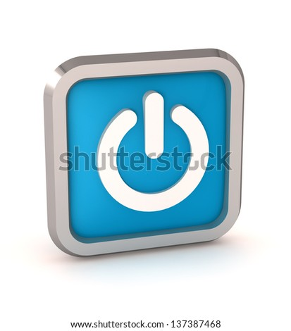 blue power button icon on a white background - stock photo