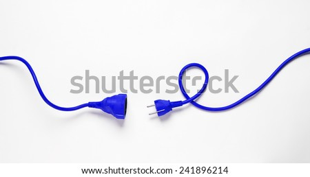 Blue Power Cable isolated on white background