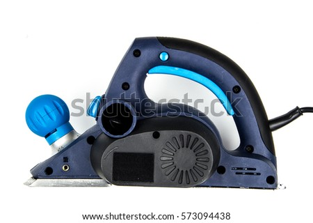 Blue power planer isolated on a white background