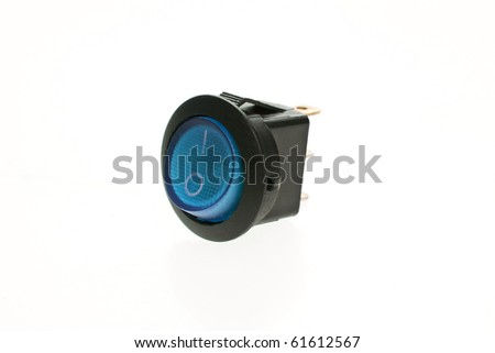 Blue power switch in on position - stock photo