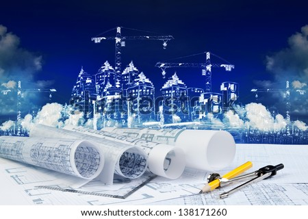 blue print and construction sketching for construction business theme - stock photo