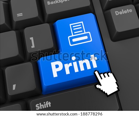 "Blue""Print"" Button on Computer Keyboard. Internet Concept."