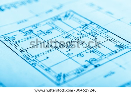 blue print on white paper for construction  - stock photo