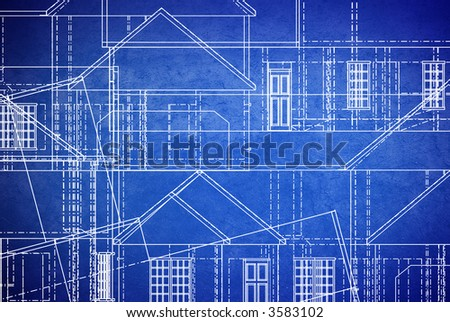 blue print style floor plans on grunge background - stock photo