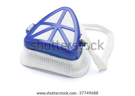 Blue protection face mask on white background - stock photo