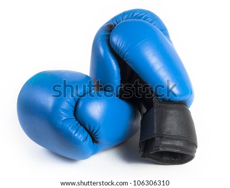 blue protective boxing gloves on white
