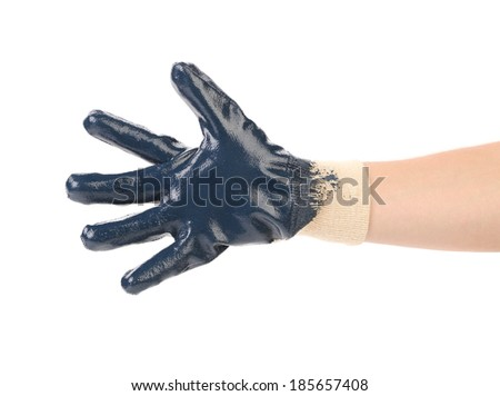 Blue protective glove. Isolated on a white background. - stock photo