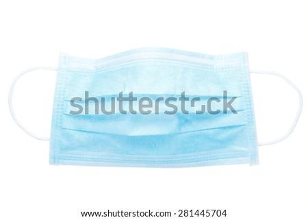 Blue protective mask isolated on white background  - stock photo