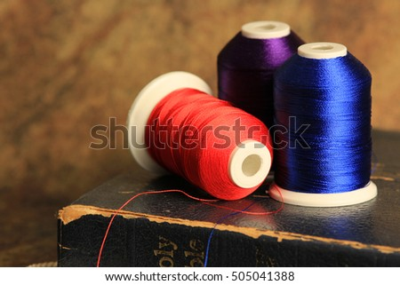 blue purple and scarlet thread with Bible