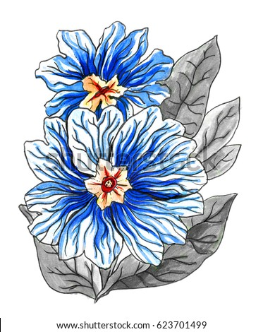 Blue Purple Tropical Flowers In Blossom Hand Drawn Decorative Watercolor Exotic Plant With Leaves On