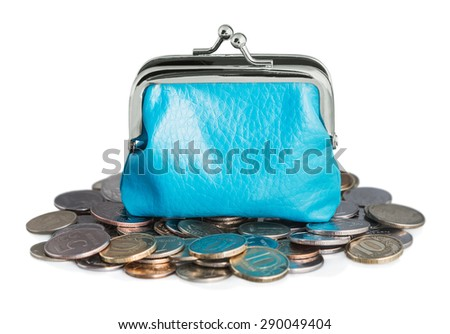 blue purse and coins isolated on white background - stock photo