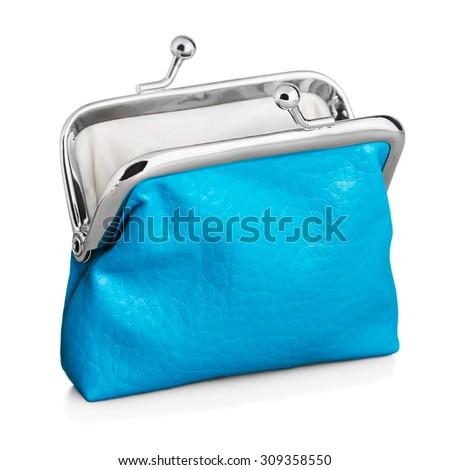 blue purse isolated on white background - stock photo