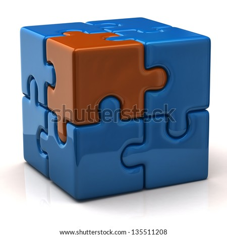 Blue puzzle cube with one orange piece - stock photo