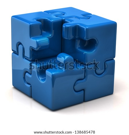 Blue puzzle cube without one piece - stock photo