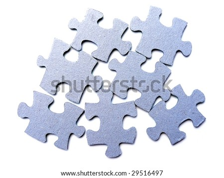 Blue puzzle isolated on white
