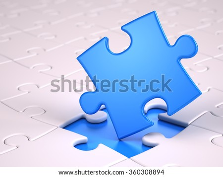 Blue puzzle piece - stock photo