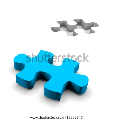 blue puzzle piece and his missing on white background solution concept - stock photo