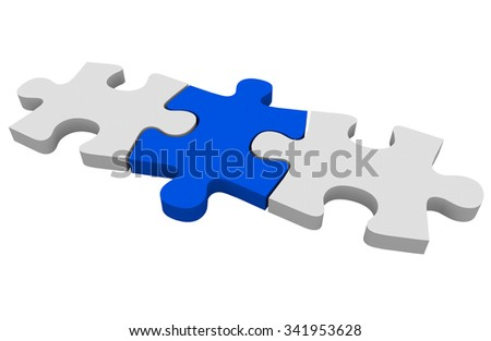 Blue puzzle piece connecting a picture together or solving a problem