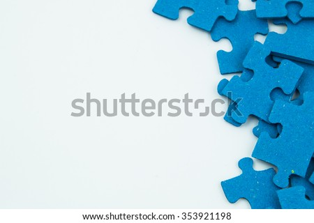blue puzzle pieces - stock photo