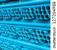 Blue pvc pipes - stock photo