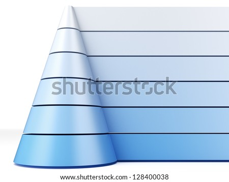 Blue pyramid chart - stock photo