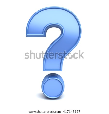 Blue question mark isolated over white background with reflection and shadow. 3D rendering.