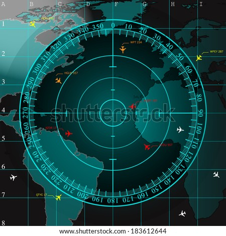 Blue radar screen over square grid lines and highly detailed map of the world, raster copy - stock photo