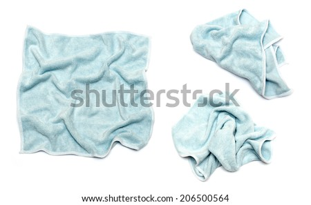 Blue rag for cleaning isolated for white background