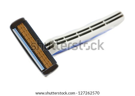 Blue razor on a white background