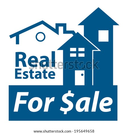 Blue Real Estate for $ale Icon, Sign or Label Isolated on White Background  - stock photo