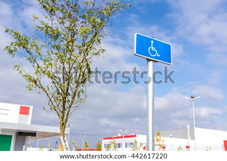 Blue rectangle traffic sign for the disabled people, handicapped sign with wheelchair - stock photo