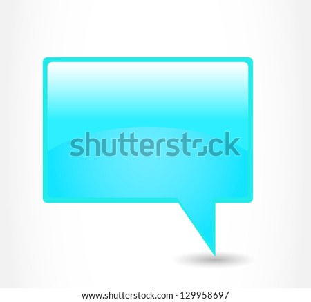 Blue rectangular glossy dialog cloud on a grey background