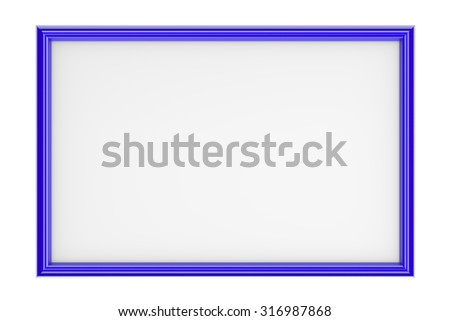 Blue Rectangular Plastic Picture Frame Isolated on White Background 3D Illustration - stock photo