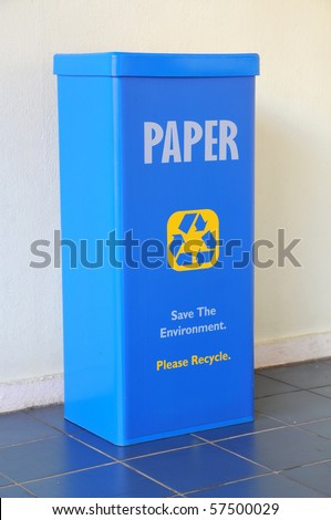Blue Recycle Bin For Paper - stock photo