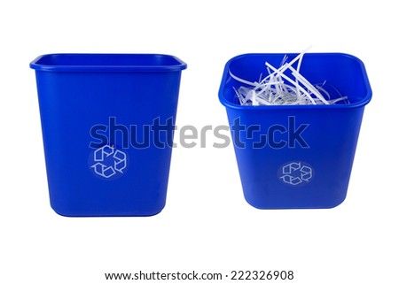 blue recycle garbage can - stock photo