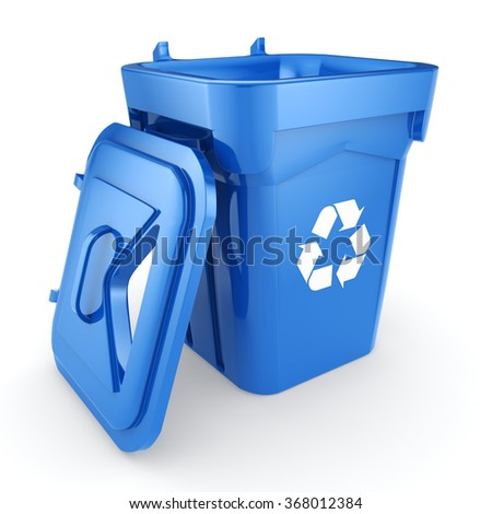 Blue Recycling Bin isolated on white background - stock photo